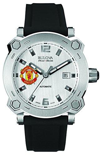 Bulova Accu Swiss Percheron Manchester United F.C.-Orologio da uomo con Display analogico e cinturino in Silicone 63B195, colore: nero