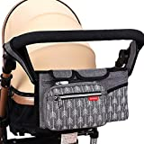 Lekebaby Pram Buggy Organiser Pushchair Organiser Bag Universal Large Stroller Storage with Insulated Cup Holder, Grey
