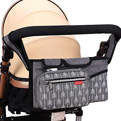 Lekebaby Pram Buggy Organiser Pushchair Organiser Bag Universal Large Stroller Storage with Insulated Cup Holder, Grey