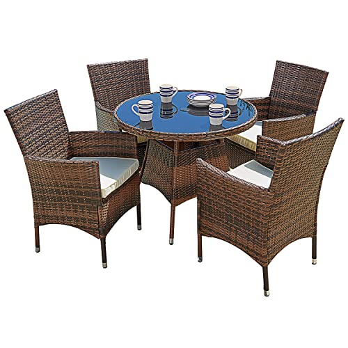 SUNCROWN Outdoor Furniture 5-Piece Patio Dining Sets,All-Weather Wicker Dining Table and Chairs Set with Washable Cushions,Round Tempered Glass Tabletop with Umbrella Cutout