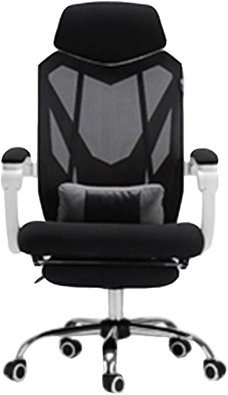 QFFL jiaozhengyi Drehstuhl, Computer Stuhl liegender Spiel Drehstuhl Moderne minimalistische Home Office Chair (Farbe   Weiß - with Foot Support)