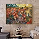 Cuadro famoso de Van Gogh, viñedos rojos en Arles, pintura al óleo sobre lienzo, carteles, impresiones, cuadro artístico de pared para decoración de sala de estar, Cuadro 60x90 CM (sin marco)