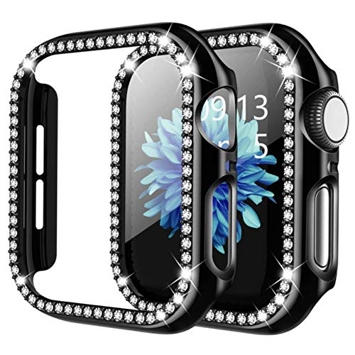 For apple watch se 6 case 40mm 44mm series 5 4 3 42mm 38mm Full Around Diamond Shiny case for iwatch women shell Plate Frame