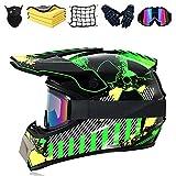 Juego de casco de motocross, casco de moto, con certificación DOT, casco para downhill, para niños, para BMX, MTB, Quad, Enduro, ATV, Roller (E,S (55-56 cm)
