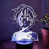 Lámpara de noche de acrílico manga los siete pecados mortales gadget meliodas figura niños lámpara de mesa regalo para el hogar habitación luz decorativa