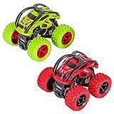 Camion Monster Truck, Camión Monstruo Coches 360 Grados de Rotación Juguetes Coche Fricción Vehículos Juguete Cumpleaños para Niños de 3 a 10 Años de Edad(2pcs, Verde Rojo)