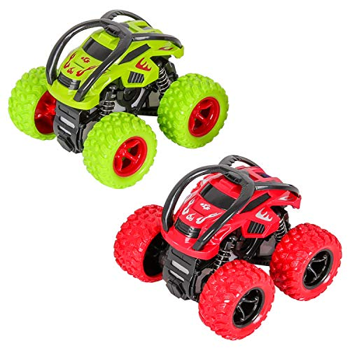 Camion Monster Truck, Camión Monstruo Coches de Juguetes Coche Fricción Empuje y Vaya vehículos con 360 Grados de Rotación(2pcs, Verde Rojo)