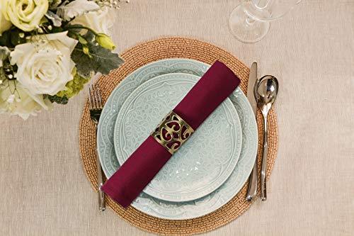UMI Servilletas de tela de Amazon de 45 x 45 cm, 12 servilletas de algodón ultra lujosas, suaves y de calidad de hotel, perfectas para eventos, hoteles y hogares, color burdeos