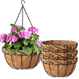 Amagabeli 4 Pack Metal Hanging Planter Basket with Coco Coir Liner 10 Inch Round Wire Plant Holder with Chain Porch Decor Flower Pots Hanger Garden Decoration Indoor Outdoor Watering Hanging Baskets