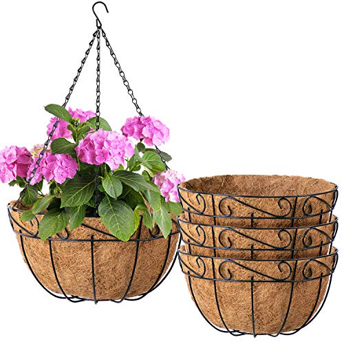 Amagabeli 4 Pack Metal Hanging Planter Baskets 10 Inch for plants Outdoor With Coco Coir Liner Round Wire Flower Pots Plant Holder Chain Porch Decor Hanger Garden Decoration Indoor Watering Black