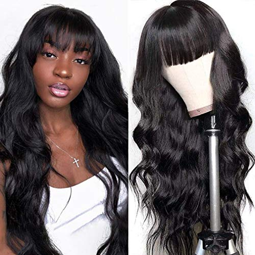 Brazilian Body Wave Hair Wigs with Bangs, Unprocessed Virgin Human Hair 130% Density No Lace Front Body Wave Human Hair Wigs Glueless Silky Machine Made Wigs for Black Women Natural Color (16 Inch)