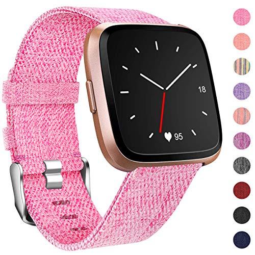 HUMENN Für Fitbit Versa Armband/Fitbit Versa 2 Armband, Woven Ersetzerband Verstellbares Zubehör Uhrenarmband mit Edelstahlschnalle Für Fitbit Versa/Fitbit Versa Lite, Klein Rosa