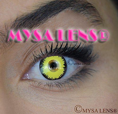 MYSA Lens®, Lenti a contatto colorate, fantasia, Crazy Lens per cosplay, occhi da lupo mannaro, giallo + Avizor Soluzione per lenti a contatto, 10ml + astuccio in omaggio, 12mesi, senza correzione