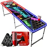 Official Beer Pong Table Full Set   With Cup Holes   1 LED Beer Pong Table + 2 Racks + 22 Red Cups + 4 Balls   Official Table   Scratch Proof   Party Games   OriginalCup®