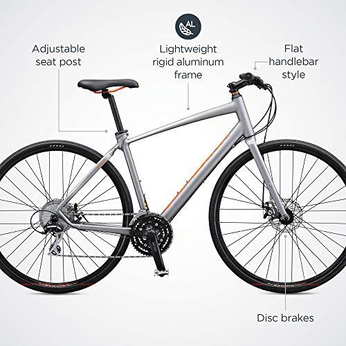 Schwinn Vantage F2 Mens/Womens Sport Hybrid Bike, 24-Speed Drivetrain, 56cm/Medium Aluminum Frame, Flat Bar, Disc Brakes, Smooth Ride Technology, Matte Grey