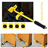 <span class='highlight'><span class='highlight'>Beito</span></span> 5PCS/Set Easy Furniture Lifter Mover Tool Set Furniture Slider Heavy Duty Furniture Roller Move Up To 150 KG/330 LBS Suitable For Sofas Couches And Refrigerators (Yellow)