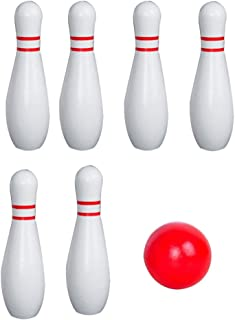 IMIKEYA Kids Bowling Set 10 Pins and 2 Balls White Soft Bowling Pins Indoor Toys Toss Sports for Active Party Family Games