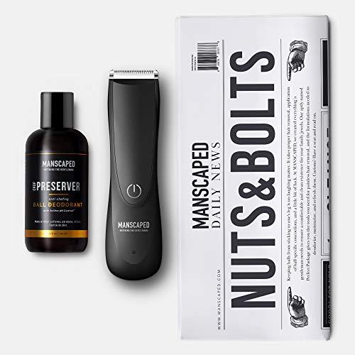 Kit de afeitado íntimo para hombre de MANSCAPED™ Nuts & Bolts 2.0, maquinilla de vello púbico The Lawn Mower™ 2.0, desodorante para testículos Crop Preserver™ y esterillas de afeitar desechables