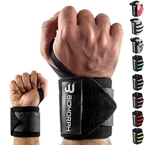 BIOMORPH Profi Handgelenk-Bandagen 54cm für Fitness, Bodybuilding, Kraftsport & Crossfit I Wrist Wraps für Frauen & Männer (Breathtaking Black)