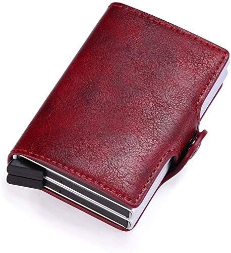 YIJIN Pop Up Wallet Automatic Leather Slim Credit Card Holder Blocking Metal Double Card Case for Men Women,Red
