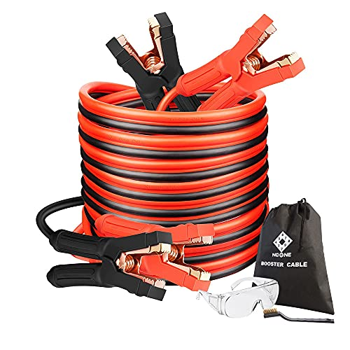 Jumper Cables, Heavy Duty Booster Cables 0 Gauge 25Feet (0AWG x 25Ft) 1000Amp with Goggles Cleaning...