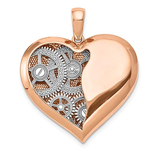 Black Bow Jewellery Company 14k White Gold and Rose Gold Polished Gears Inside Heart Pendant, 27mm steampunk buy now online