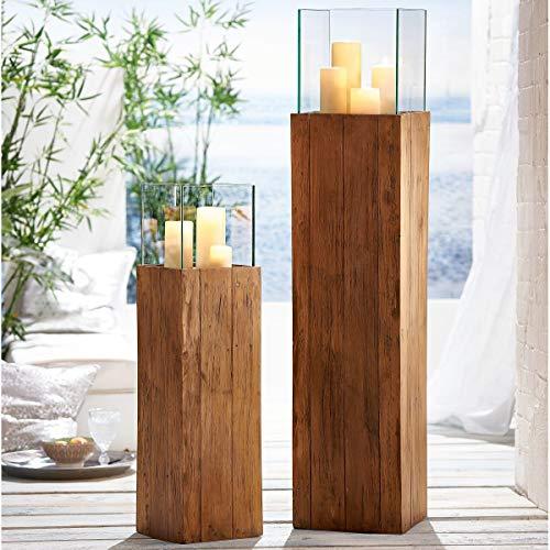 Pureday Bodenwindlicht Woody - Windlichtsäule aus Holz - Natur