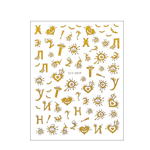 3D Nagel Sticker, Goud Zwart Russische Letter Nagel Art Decoraties Transfer Stickers Nagel Sticker Halloween Thema DIY Manicure STZ-G039 (Gold) Goud