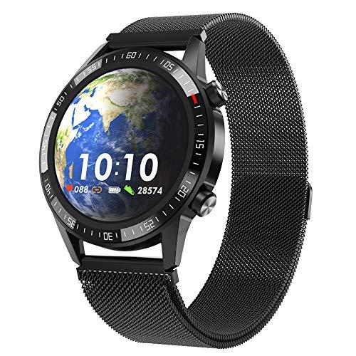Llamada Elegante del Dial De La Música De Q88 Bluetooth del Reloj Elegante De La Pantalla Táctil De La Exhibición del Estilo del Sistema Dual Acero Negro