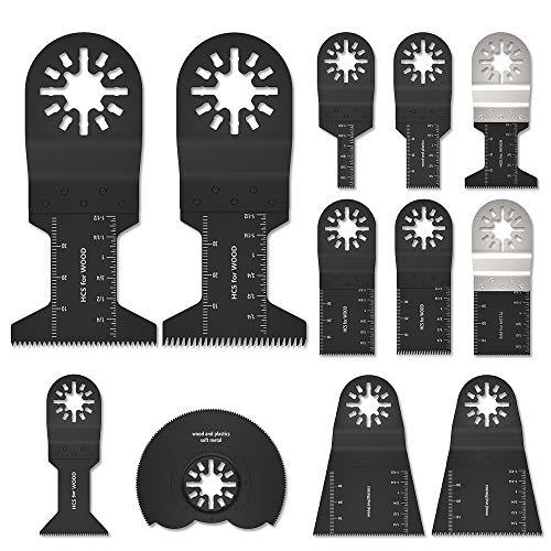 12PCS Cuchillas Oscilantes Multiherramienta Accesorios para Herramientas Oscilantes Universal Rápido Dientes de Carburo para Corte de Madera Metal Plástico