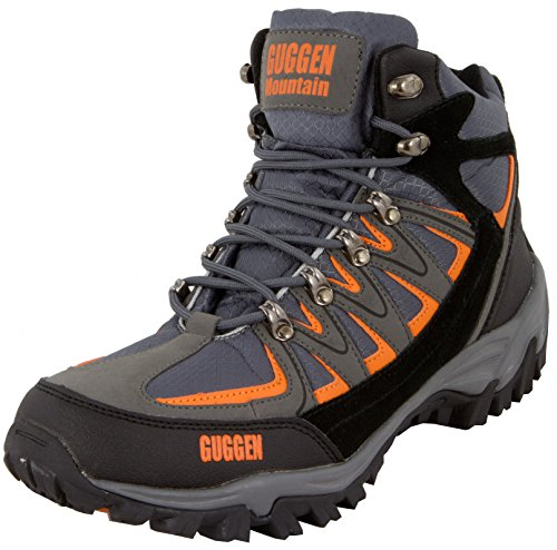 GUGGEN Mountain M009 Bergschuhe Bergstiefel Wanderschuhe Wanderstiefel Mountain Boots Trekkingschuhe mit echtem Leder, Farbe Grau-Orange, EU 42