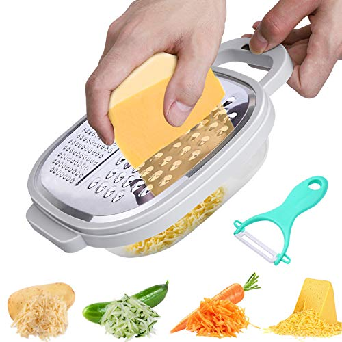 Graters for Kitchen Cheese Grater with Container Cheese Grater Stainless Steel with Lid and Detachable Storage Container Easy to Use for Parmesan Cheese Vegetables Ginger