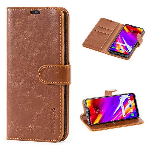Mulbess Flip Tasche Handyhülle für LG G7 ThinQ Hülle Leder, LG G7 ThinQ Klapphülle, LG G7 ThinQ Handy Hülle, Schutzhülle für LG G7 ThinQ Handytasche, Braun