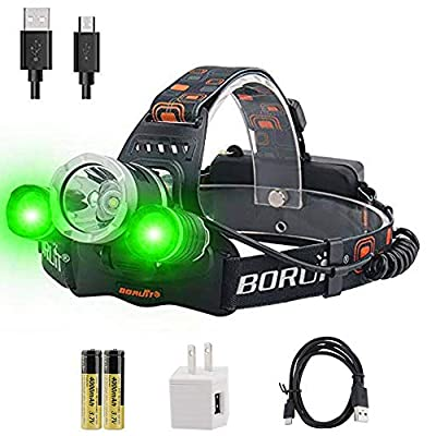 BORUiT RJ-3000 LED Headlamp - White & Green LED Hunting Headlight - USB Rechargeable & 3 Mode -Ultra Bright 5000 Lumens Tactical Head lamp for Running, Camping, Hiking & More