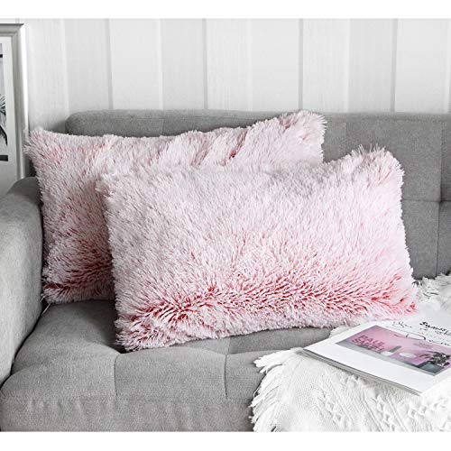 Uhomy Home Decorative Luxury Series Super Soft Style Faux Furry Rectangular Pillow Case Cushion Cover for Living/Beding/Car Pink Ombre 12x20 Inch 30x50 cm Set of 2