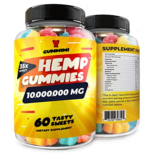 Gummies for Pain, Anxiety, Sleep, Stress Relief, High Potency - Calm Gummy Bears with Oil - 100% Natural - Improves Memory, Focus, Attention - Omega 3, 6, 9 & Vitamins B, E