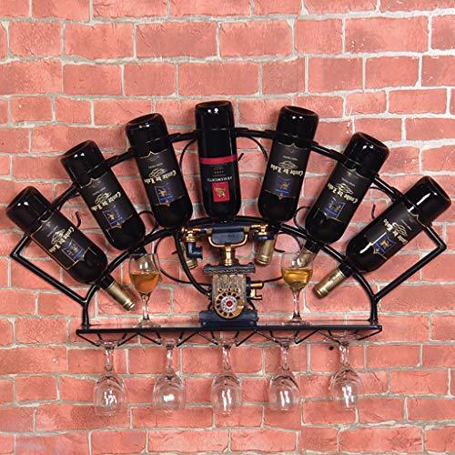 FPigSHS Porta Bottiglie da Vino Cantinetta da Parete cantinetta da Parete Scaffale a Parete Scaffale sospeso Sospensione espositore Bancone Cantina per Vino Bottiglie Multiple (Colore : A)