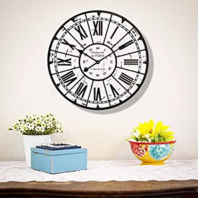 Imoerjia American Rustic Retro-Table Living Room Home Mute Creative Personality Iron Great Wall Clock