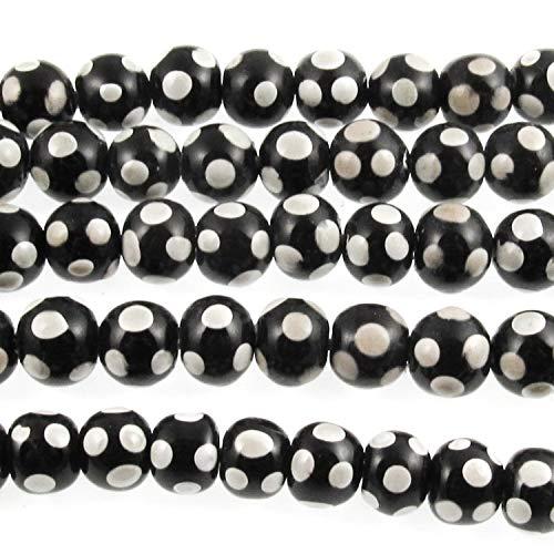 Black + Gray Dots 8-9mm Glass Beads, Handmade Lampwork 52/Strand Dots Lampwork Glass Bead