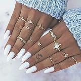 Simsly Conjunto de anillos de nudillos de oro vintage con cristales para mujeres y niñas (12 piezas)