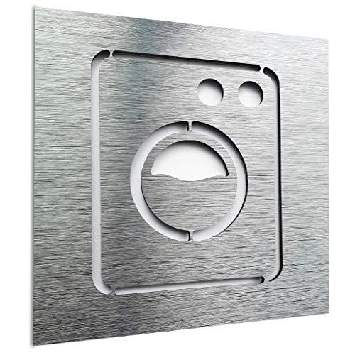 Wäsche türschild - Waschküche Zeichen - Waschraum Metal Aufkleber - Waschmaschine schild - Wäsche Wandkunst - Reinigung Deko Abziehbild - 120 x 120 mm - selbstklebend & pflegeleicht (Silber)
