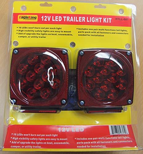 Eagleking 12V LED Trailer Light Kit Multi-Function Tail Lights Submersible DOT