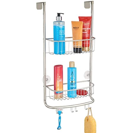 mDesign Estantería de ducha para colgar sobre la mampara – Práctico colgador para ducha con colocación sin herramientas – Cestas metálicas con ...