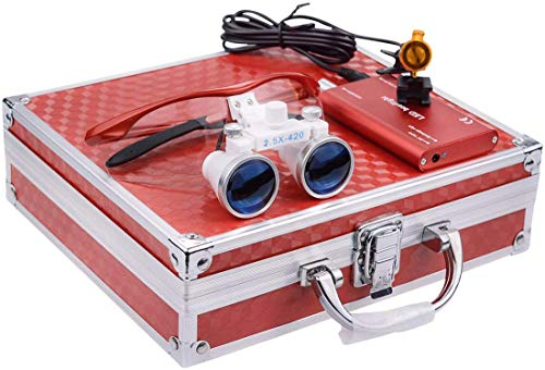 TopSeller歯科 拡大鏡 双眼ルーペ拡大鏡(2.5倍) + クリップ式LEDヘッドライト 3W 携帯便利 光学拡大鏡 光学ルーペ (2.5倍) ポータブル拡大鏡 ポータブルルーペ 虫眼鏡 軽量 フィルター付き 装着便利 収納アルミボックス付き (赤)