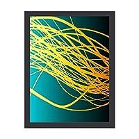 INOV 直線流青金ゴールド アートパネル アートフレーム ポスター 壁の絵 インテリア フレーム装飾画 壁掛け 壁飾り 絵 壁アート 風水 玄関 木枠付きの完成品 30x40cm