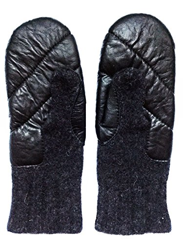 Black or Grey Dachstein Woolwear Leather Trim 100% Austrian Wool Mittens (6.5, Black)