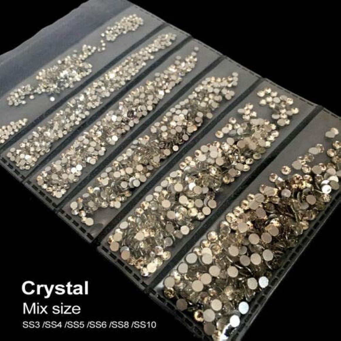 動的ベックスオーバーフローFidgetGear ミックスサイズ1.2 mm - 2.8 mmクリスタルガラスラウンドネイルアートラインストーンFlatback 結晶