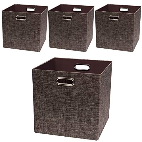 Posprica Storage Basket Bins,13×13 Foldable Storage Boxes Containers for Closet Organizer Shelf Cabinet Bookcase,Thick Fabric Drawer with Shimmer,4pcs,Brown