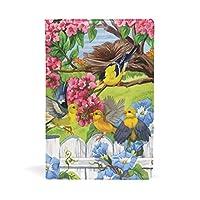 ブックカバー 文庫 a5 皮革 レザー 美しい庭 鳥 赤い花 鴨 文庫本カバー ファイル 資料 収納入れ オフィス用品 読書 雑貨 プレゼント