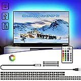 LED TV Hintergrundbeleuchtung 3M, VOYOMO USB LED TV Lichtleiste mit 24-Key RF Fernbedienung für Großer Fernseher 43-58 Zoll, PC, Spiegel und Küche Deko usw